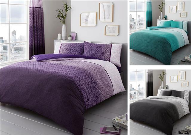 Duvet Sets Purple Ombre Quilt Cover, Contemporary Bedding Sets Uk
