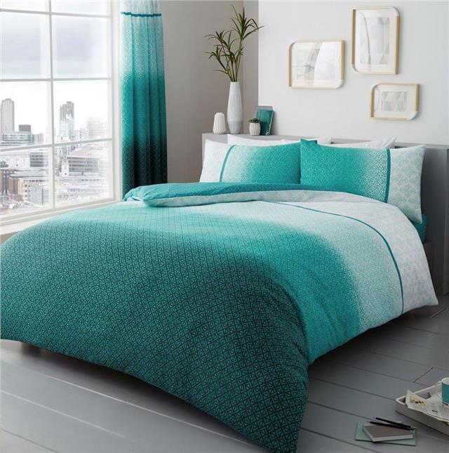 Duvet Sets Teal Ombre Quilt Cover, Contemporary Bedding Sets Uk