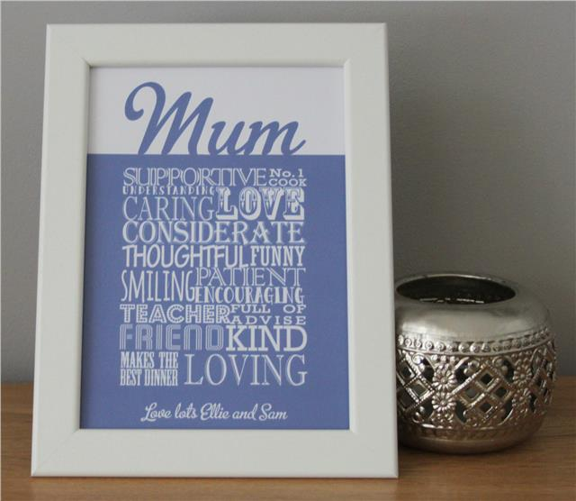 WORD ART PERSONALISED FOR MUM FOR HER ON CHRISTMAS XMAS PRESENT GIFT