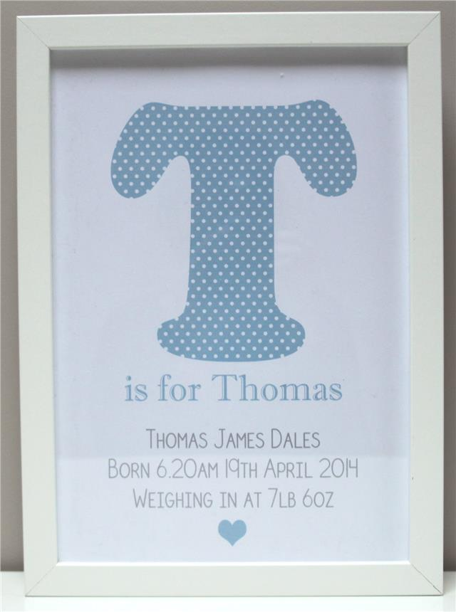 Personalised New Baby Gift Present Boy Girl Christening Newborn Print or Frame Christmas Gift Xmas