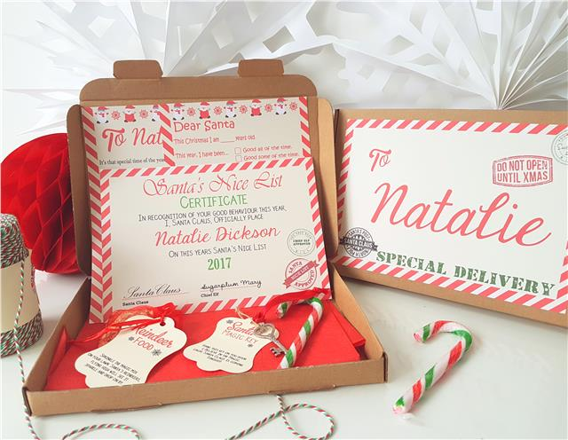 Personalised christmas eve box filled a5 santa letter for Santa s magic key craft