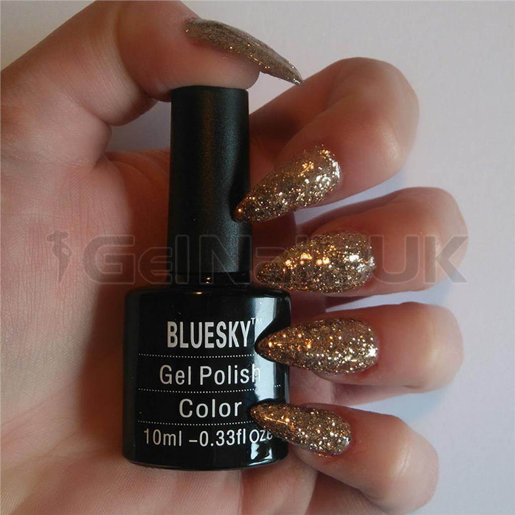 Bluesky KS1049 Luxury Gold UV/LED Soak Off Gel Nail Polish 10ml Free ...