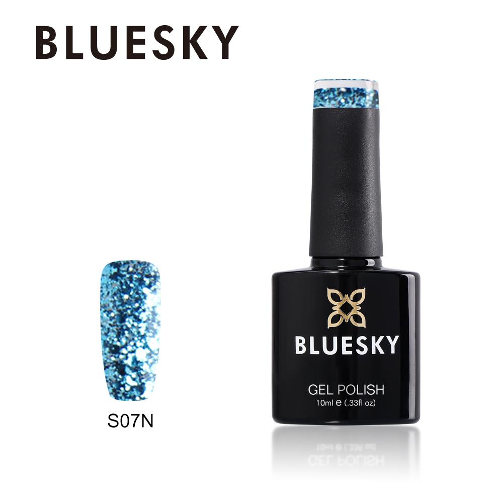 Bluesky S07N BLUE GLITTER UV/LED Soak Off Gel Nail Polish 10ml Free ...