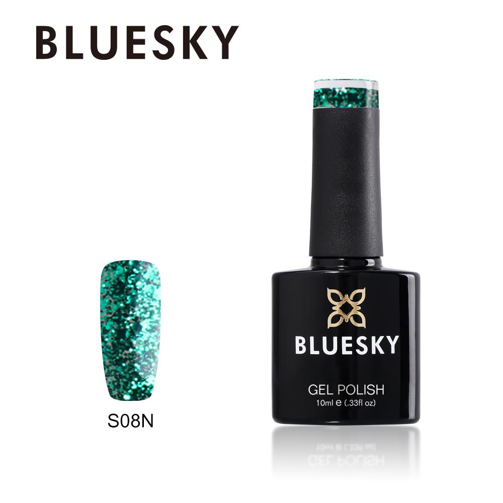 Bluesky S08N GREEN GLITTER UV/LED Soak Off Gel Nail Polish 10ml Free ...
