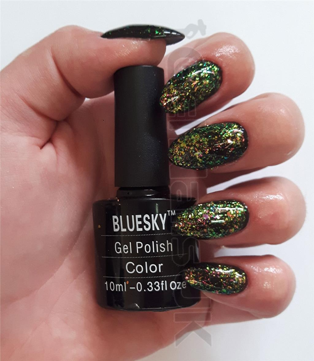 Gelaxy Gel Nail Polish: Bluesky Galaxy 07 Chameleon Flakes Nail Gel Polish UV LED
