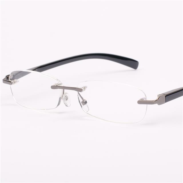 New Mens Womens Designer Rimless Spring Hinge Black ...