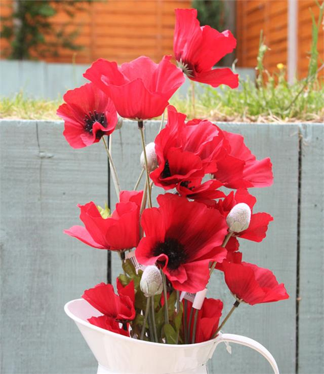Artificial flame red poppy flower 63cm decorative plastic poppies artificial flame red poppy flower 63cm decorative plastic poppies flowers mightylinksfo