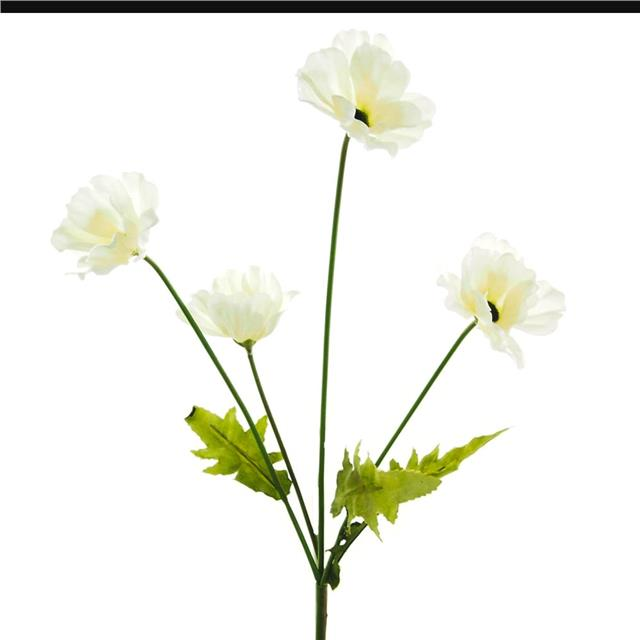 Artificial White Poppy Stem Decorative Silk Poppies Flowers