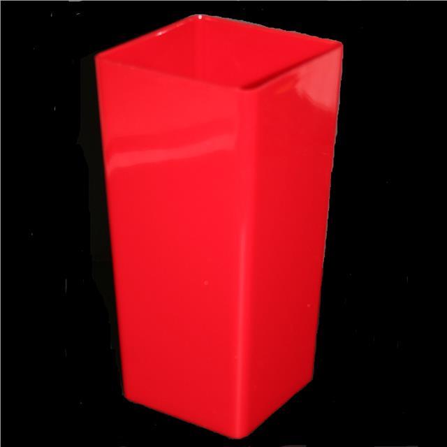 Piza Plastic Vase Planter 25cm Red Square Design Contemporary Vase