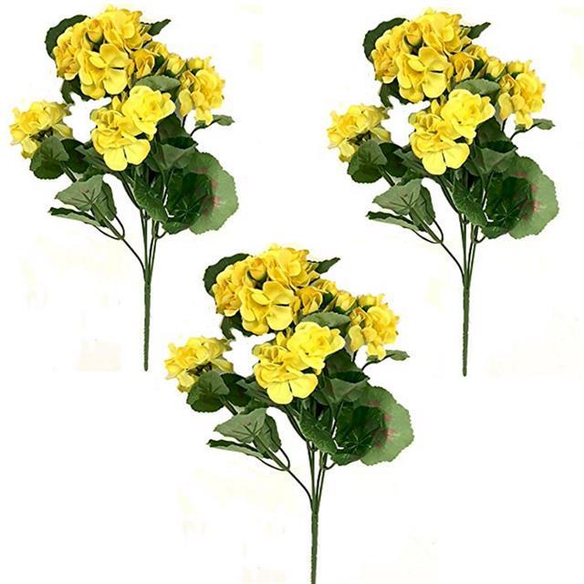 Artificial yellow geranium plant pack of 3 decorative geraniums artificial yellow geranium plant pack of 3 decorative geraniums flowers mightylinksfo