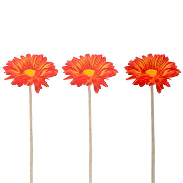 Artificial Gerbera Orange Length 60 Cm X3 Decorative Silk Flowers
