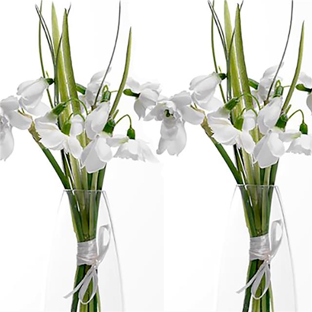2 x tied bunches pretty artificial silk double snowdrops flowers