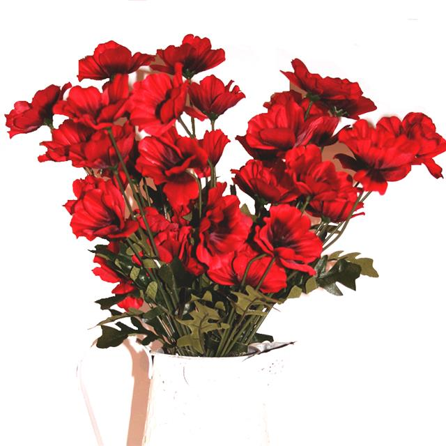 45cm Artificial Red Poppy Flower Arrangement X10 Decorative Silk