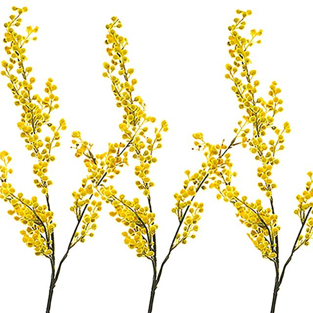 Artificial Mimosa Stem Spray X3 Decorative Yellow Flowers Ebay