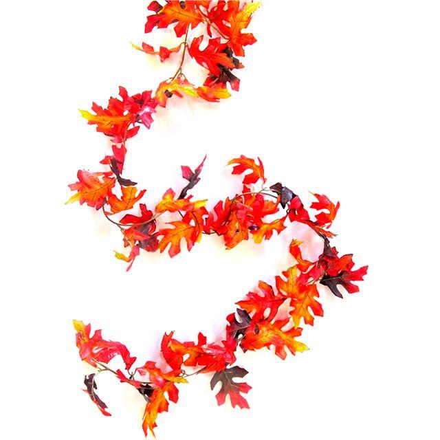 Autumn Display Artificial Oak Leaf Garland 180cm Red and Orange Leaves