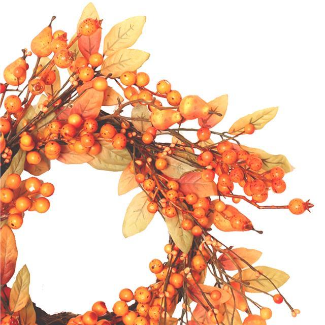Artificial Autumn Leaves Berry Wreath Decorative Autumn