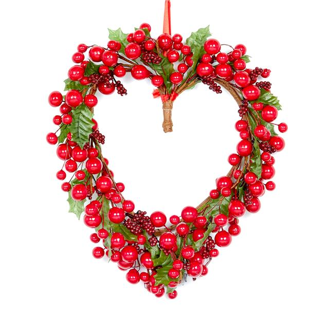 Christmas Heart Wreath.Details About Artificial Red Berry Holly Heart Wreath Luxury Christmas Berries Decoration