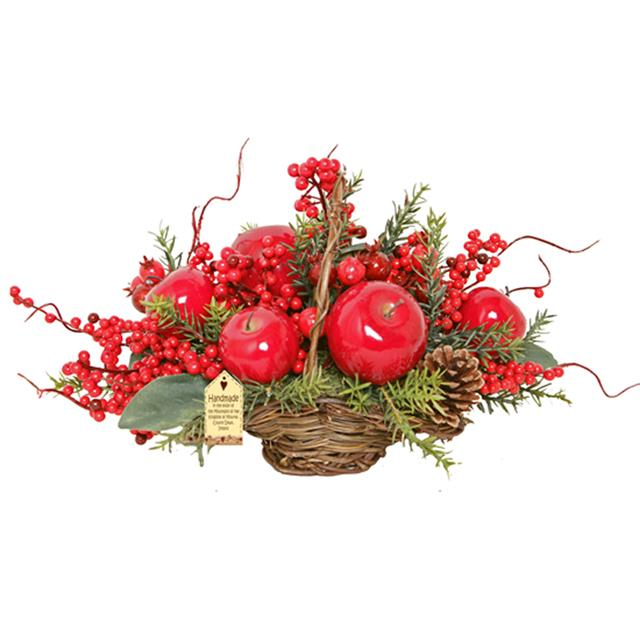 Christmas Table Arrangements Flowers.Details About Artificial Luxury Apple Floral Basket Luxury Christmas Table Decoration