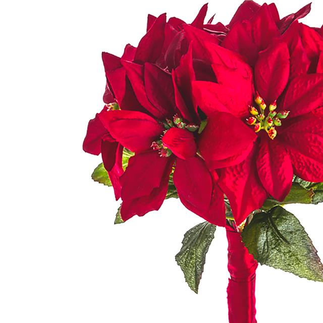 artificial 25cm poinsettia bunch bundle of 9 christmas luxury