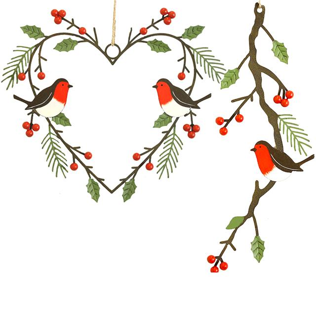 Christmas Robin Metal Heart Wreath Decoration / Robin on a ...