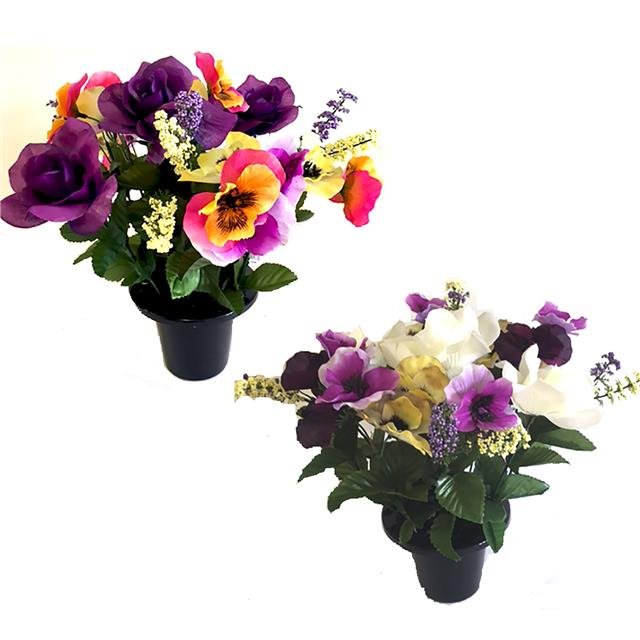 Artificial Pansy and Rose Grave Pot - Choose Type - Memorial Silk Flowers  sc 1 st  eBay & Artificial Pansy and Rose Grave Pot - Choose Type - Memorial Silk ...