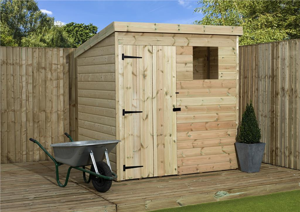 6x6 Wooden Garden Shed Shiplap Pent Shed Tanalised Windows Door Left Ebay
