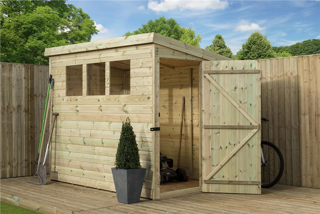 Garden Shed 6x6 Shiplap Pent Roof Tanalised Windows Pressure Treated Door Right Ebay