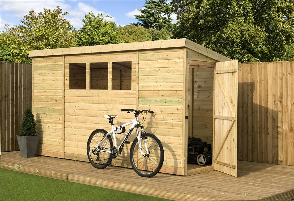 T/&G Timber Wooden Large Pent Outdoor Storage Shed Bike Store TANALISED  TREATED