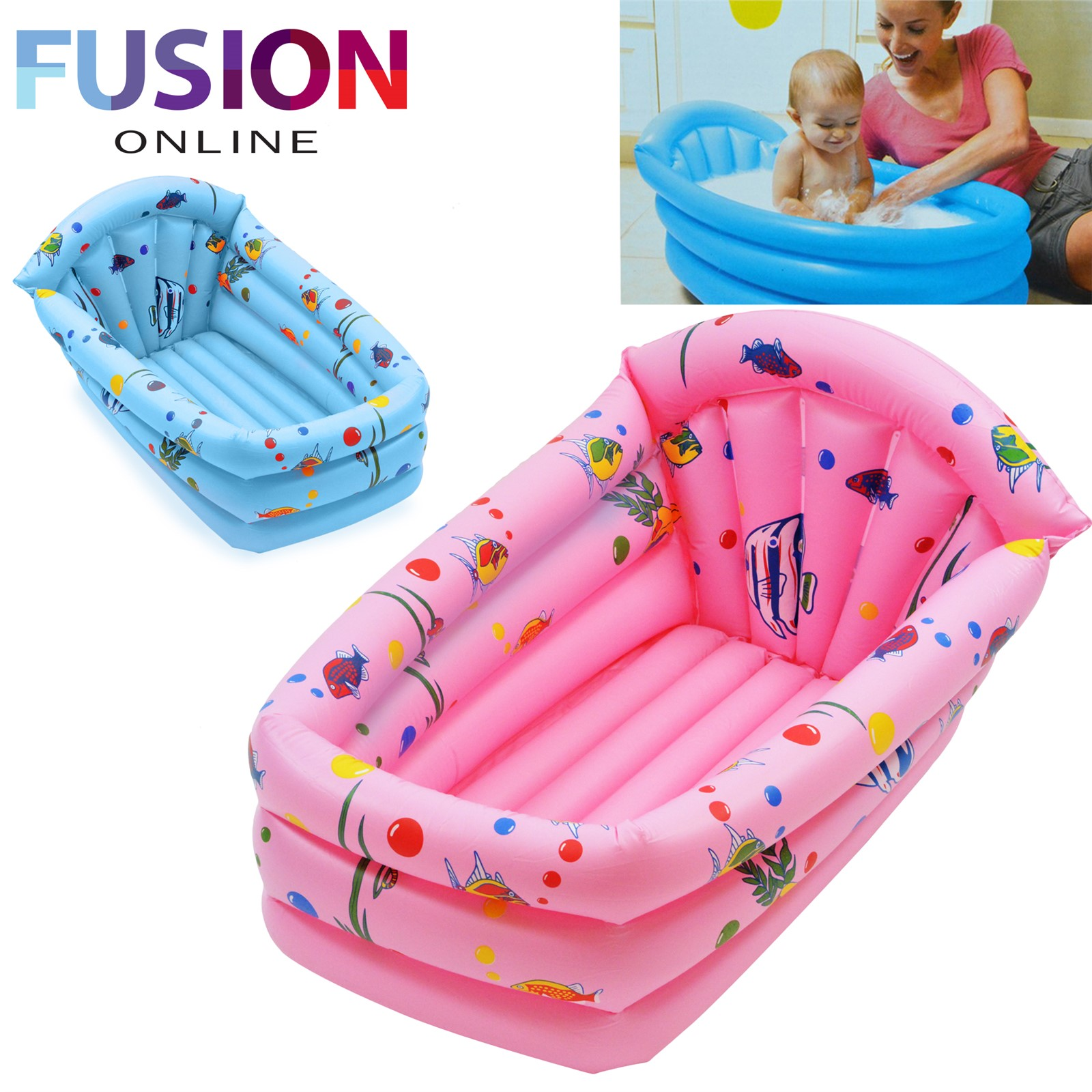 INFLATABLE BABY CHILDRENS KIDS BATH TUB TRAVEL INFANT WASHING WASH ...