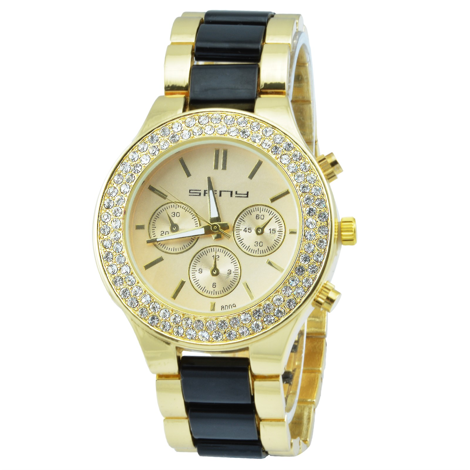 bezel women pin watches stainless dkny steel quartz crystal