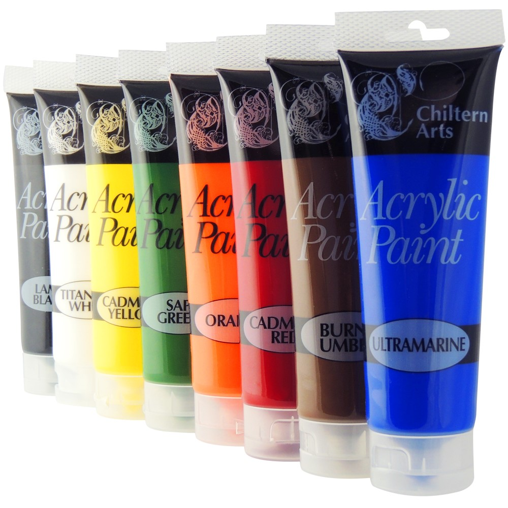 8 x 120ml tubes of acrylic paint paints assorted colours for Fast drying paint for crafts