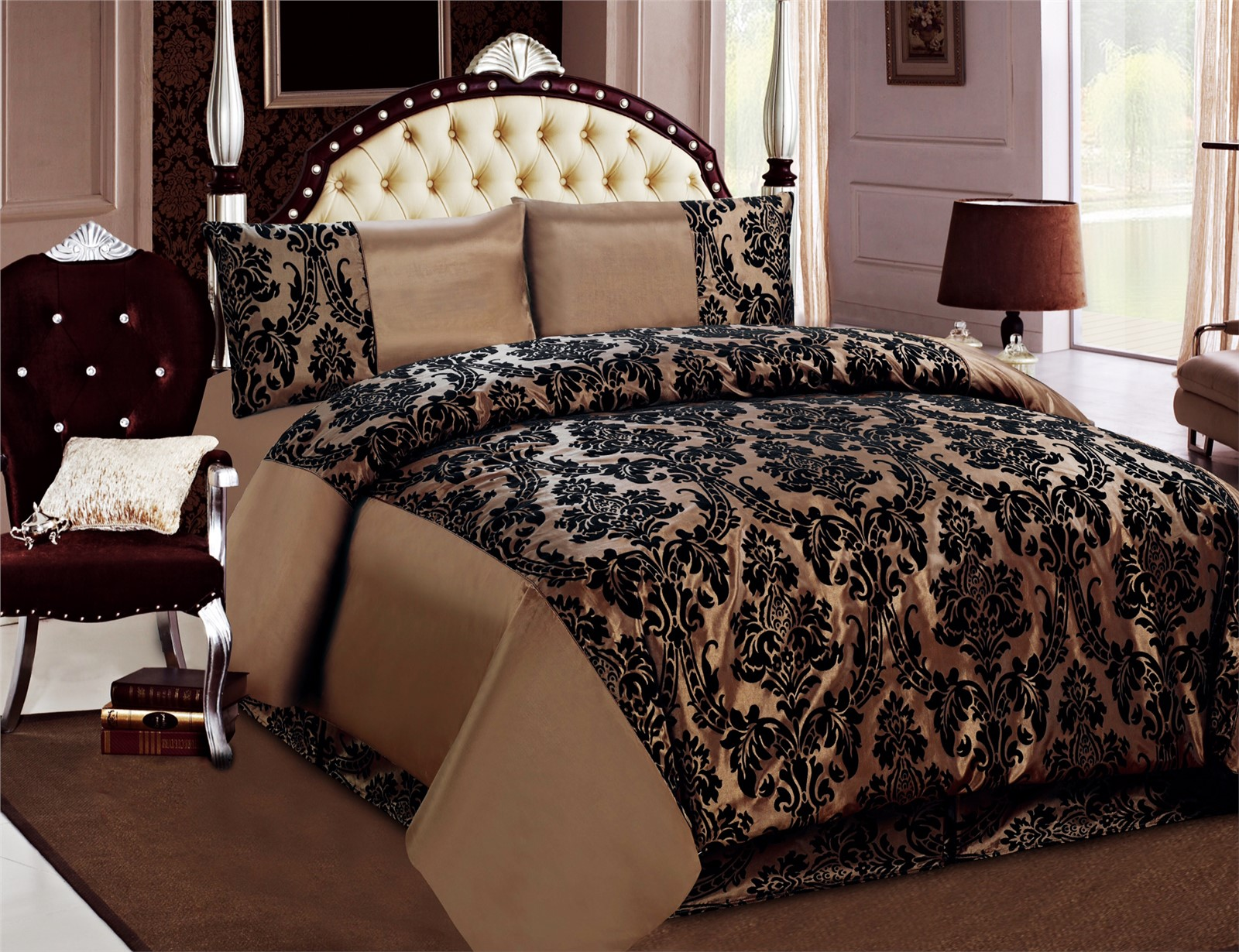 4 Pcs Duvet Cover Damask Quilted Luxury Bedding Comforter