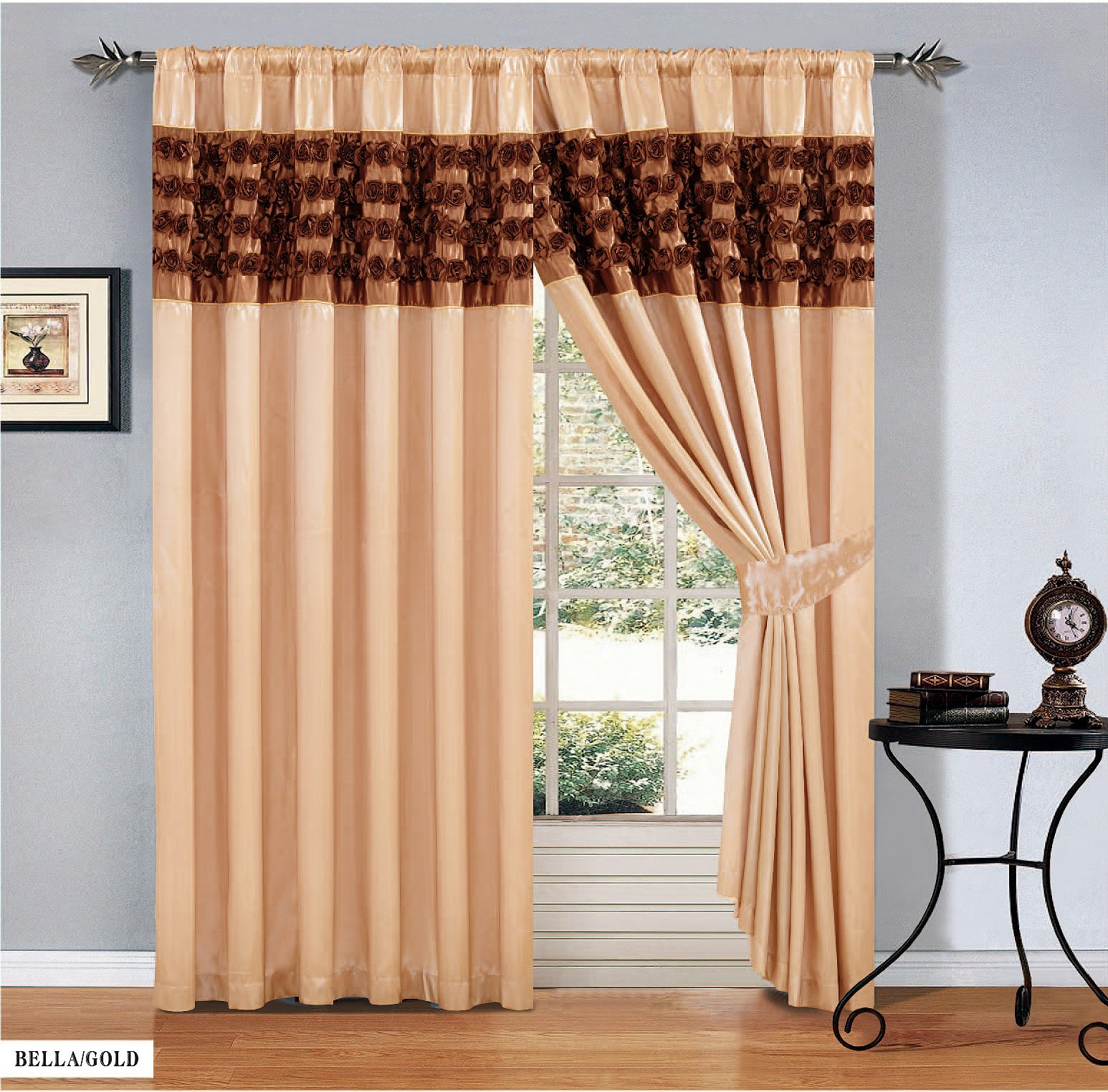 Luxury Faux Silk Pair Of Half Bella Rose Pencil Pleat Window Curtain All Colours Ebay
