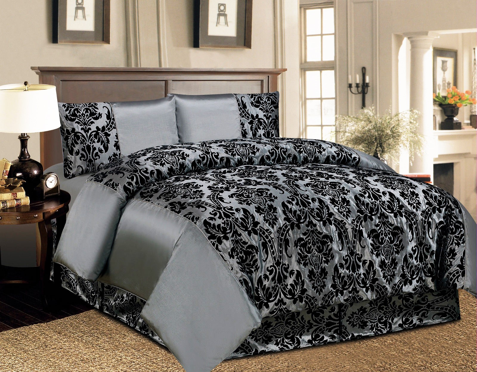 4 pcs duvet cover damask quilted luxury bedding comforter set with bed sheet uk ebay. Black Bedroom Furniture Sets. Home Design Ideas