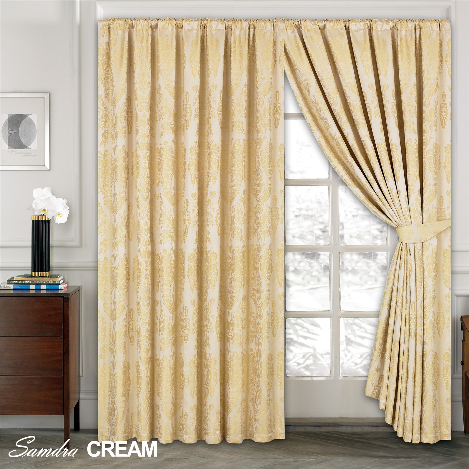 luxury jacquard curtains fully lined ready made tape top pencil pleat curtains ebay. Black Bedroom Furniture Sets. Home Design Ideas