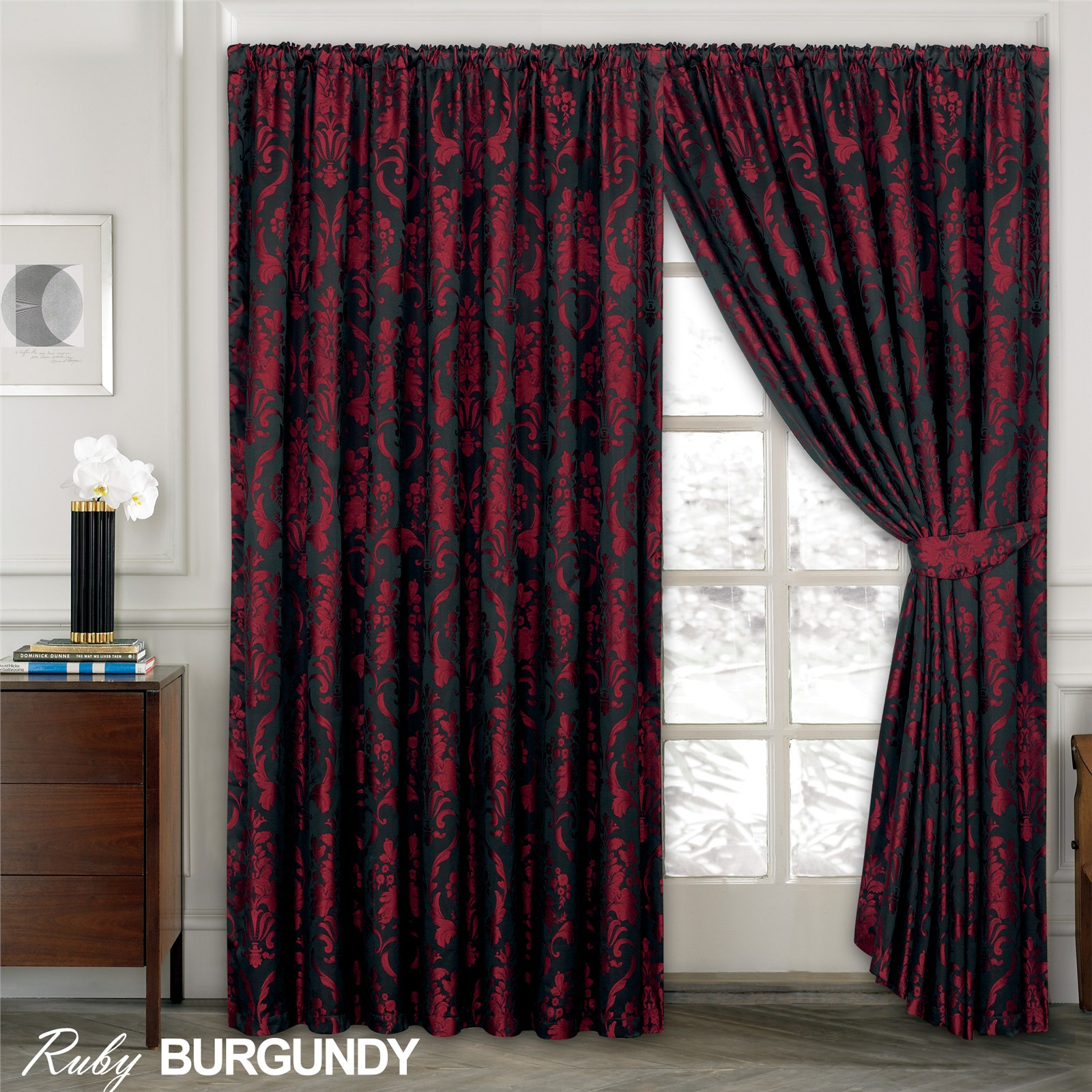 Luxury Jacquard Curtains Fully Lined Ready Made Tape Top Pencil Pleat Curtains Ebay