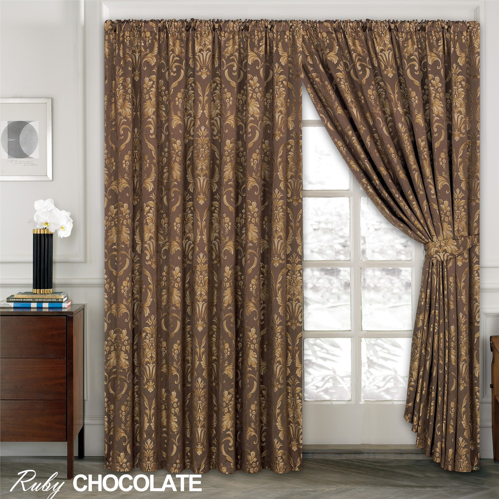 LUXURY JACQUARD Curtains Fully Lined Ready Made Tape