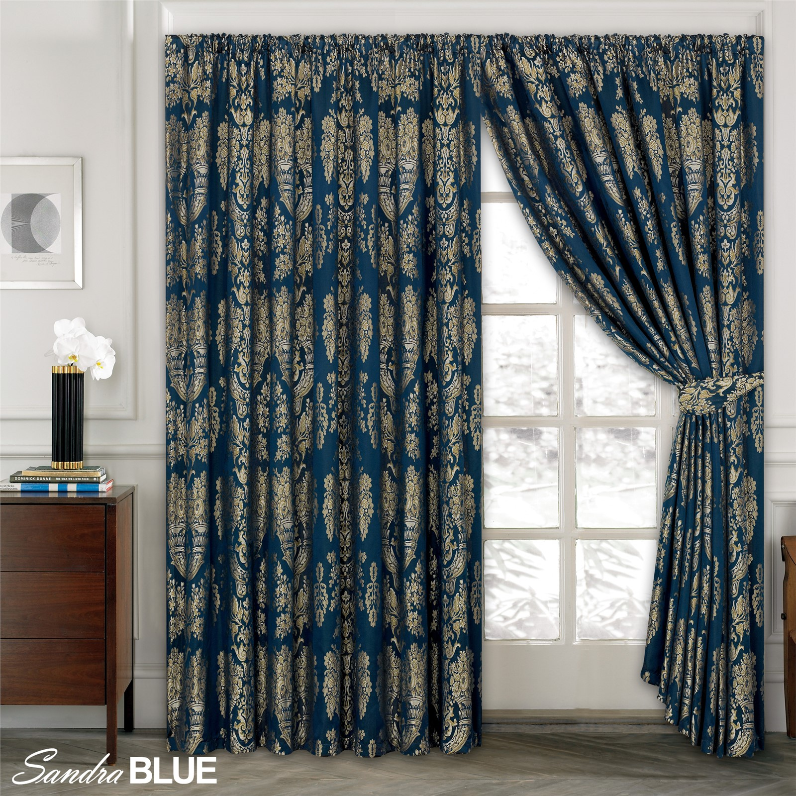 Luxury Jacquard Curtains Fully Lined Ready Made Tape Top