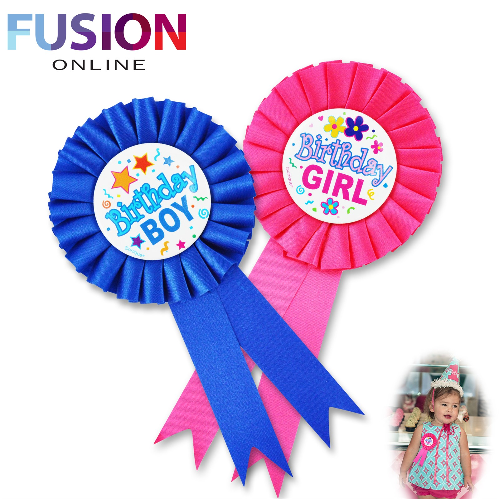 HAPPY BIRTHDAY BOYS BADGE GIRLS BADGE ROSETTE BLUE PINK