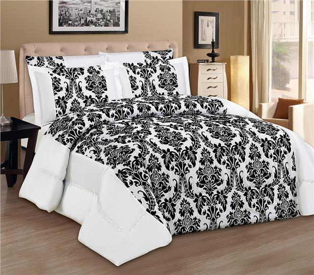 LUXURY 3pcs Flock Quilted Bed Spread Bedspread Comforter Set Size Double King UK