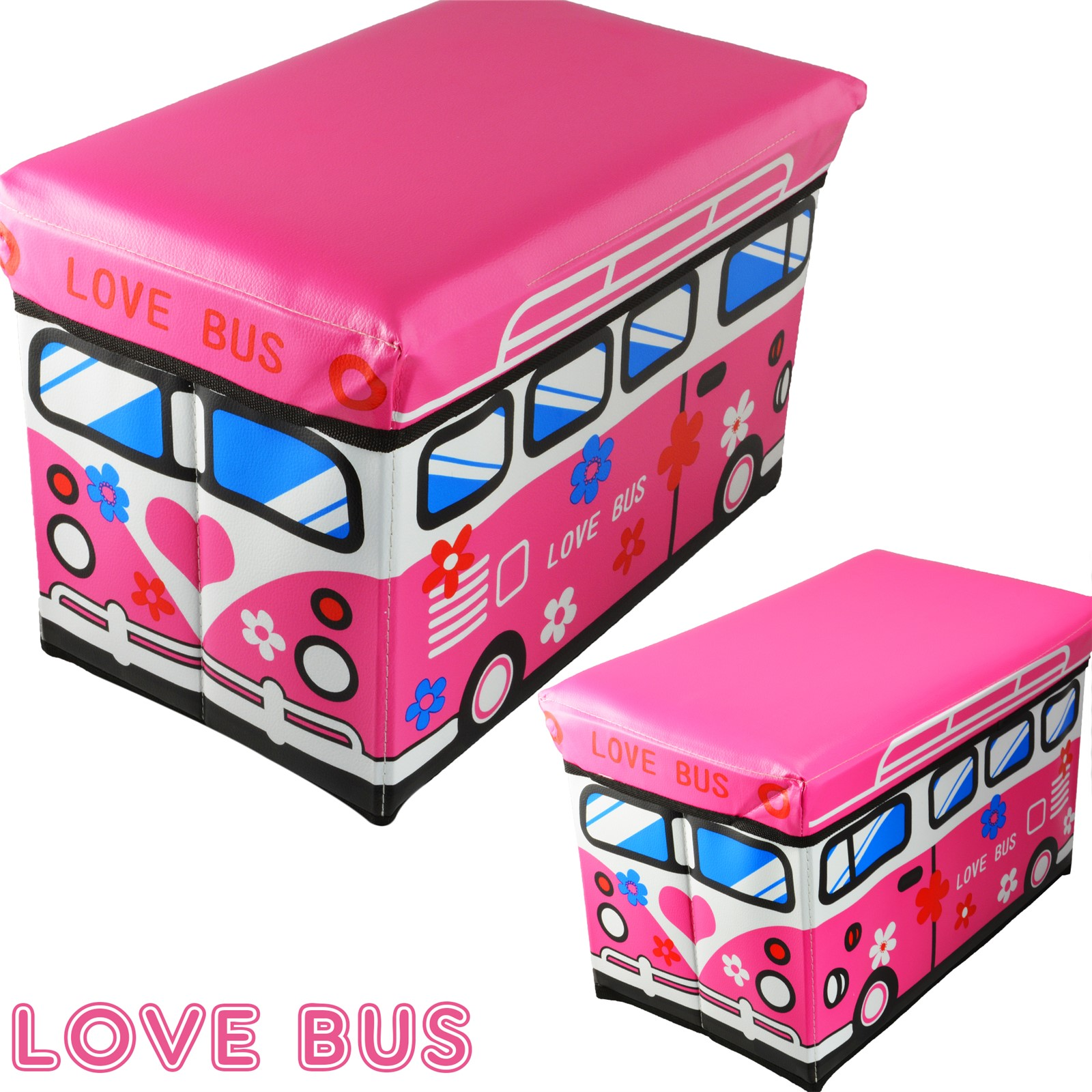 New Safari Bus Kids Folding Storage Bin Toy Box Clothes: CHILDREN POP UP FOLDING STORAGE BOX SEAT KIDS TOY CHEST