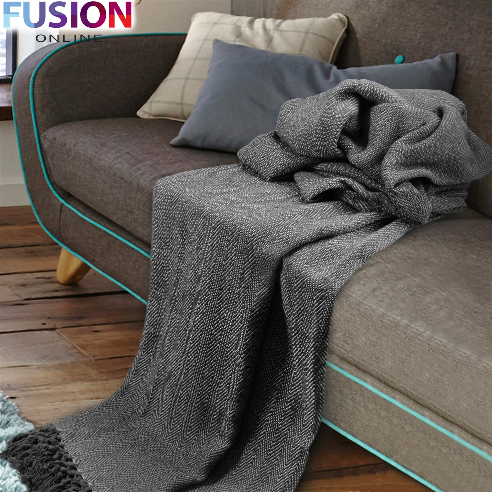 Large 100 cotton throw woven sofa bed herringbone blankets 5 sizes giant sizes ebay Throw blankets for sofa