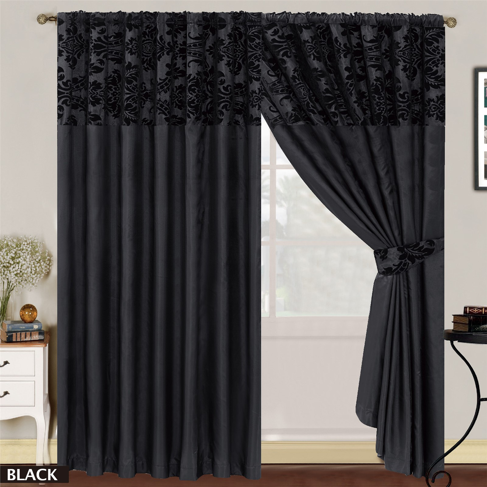 LUXURY Damask Curtains Pair Of Half Flock Pencil Pleat Window ...