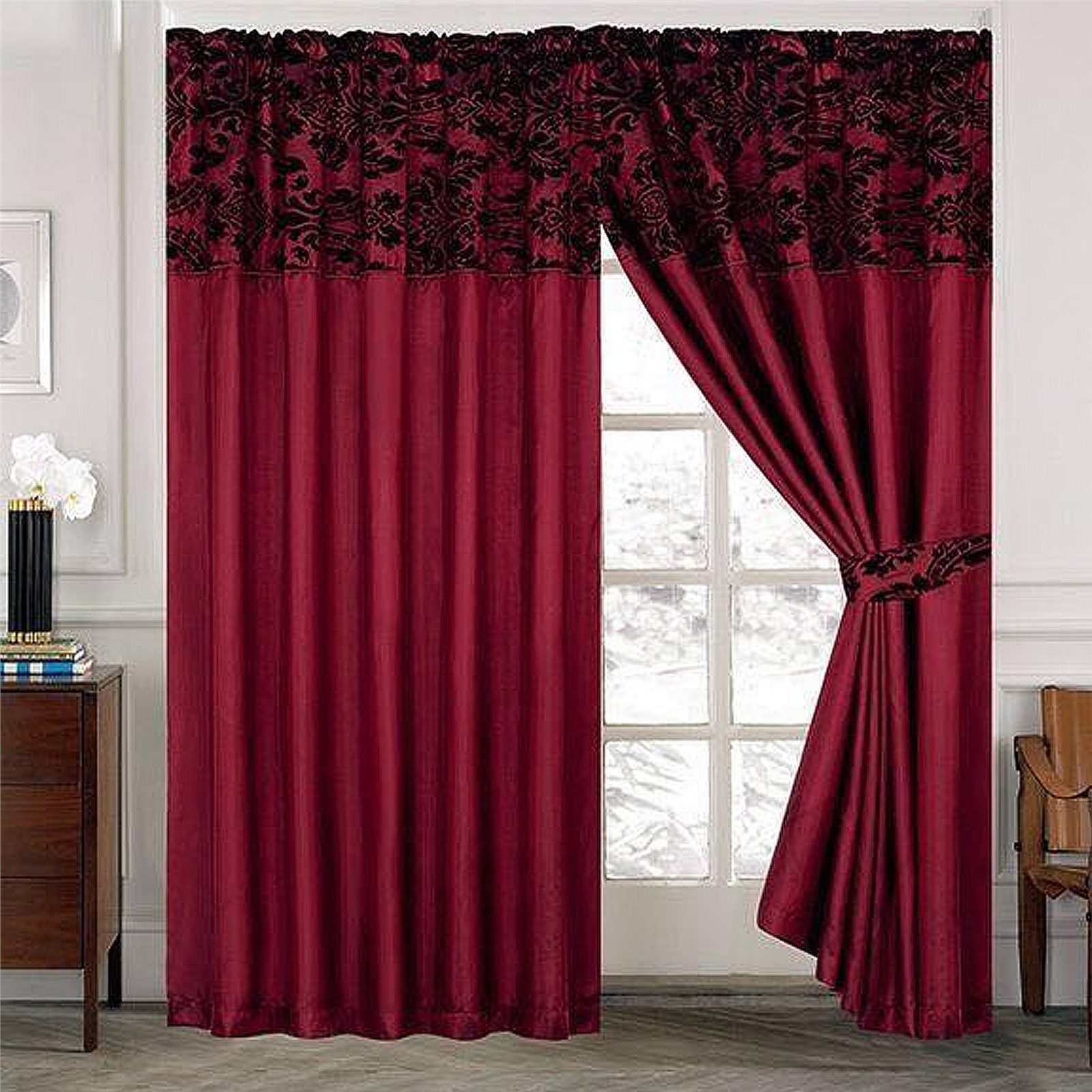 damask curtains pair of half flock pencil pleat window curtain ebay