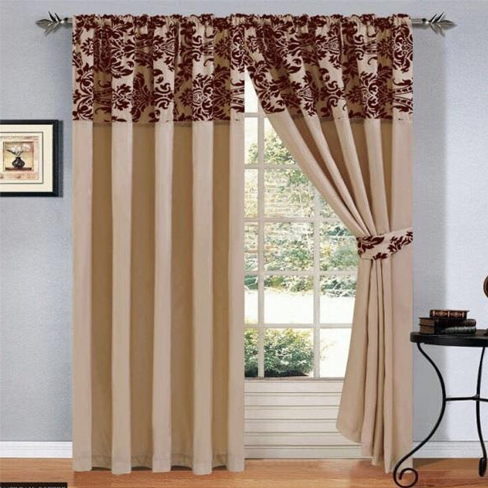 buy beautiful ethnic room brown curtain curtains living maroon online