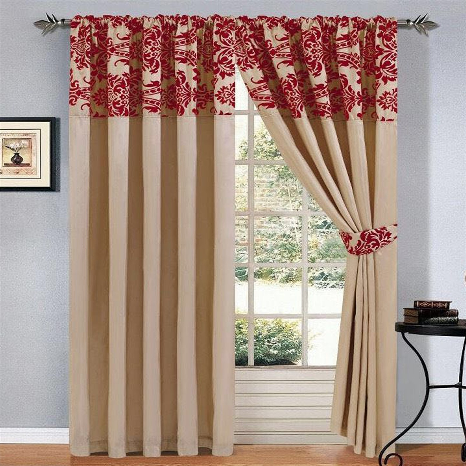 Gold and red damask curtains curtain menzilperde net for Red and gold drapes