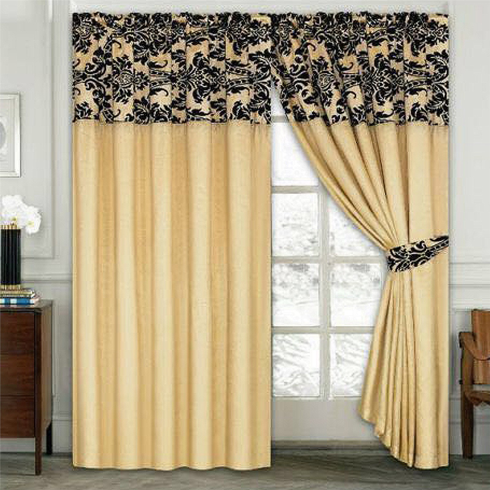 Luxury damask curtains pair of half flock pencil pleat for Living room curtains 90x90