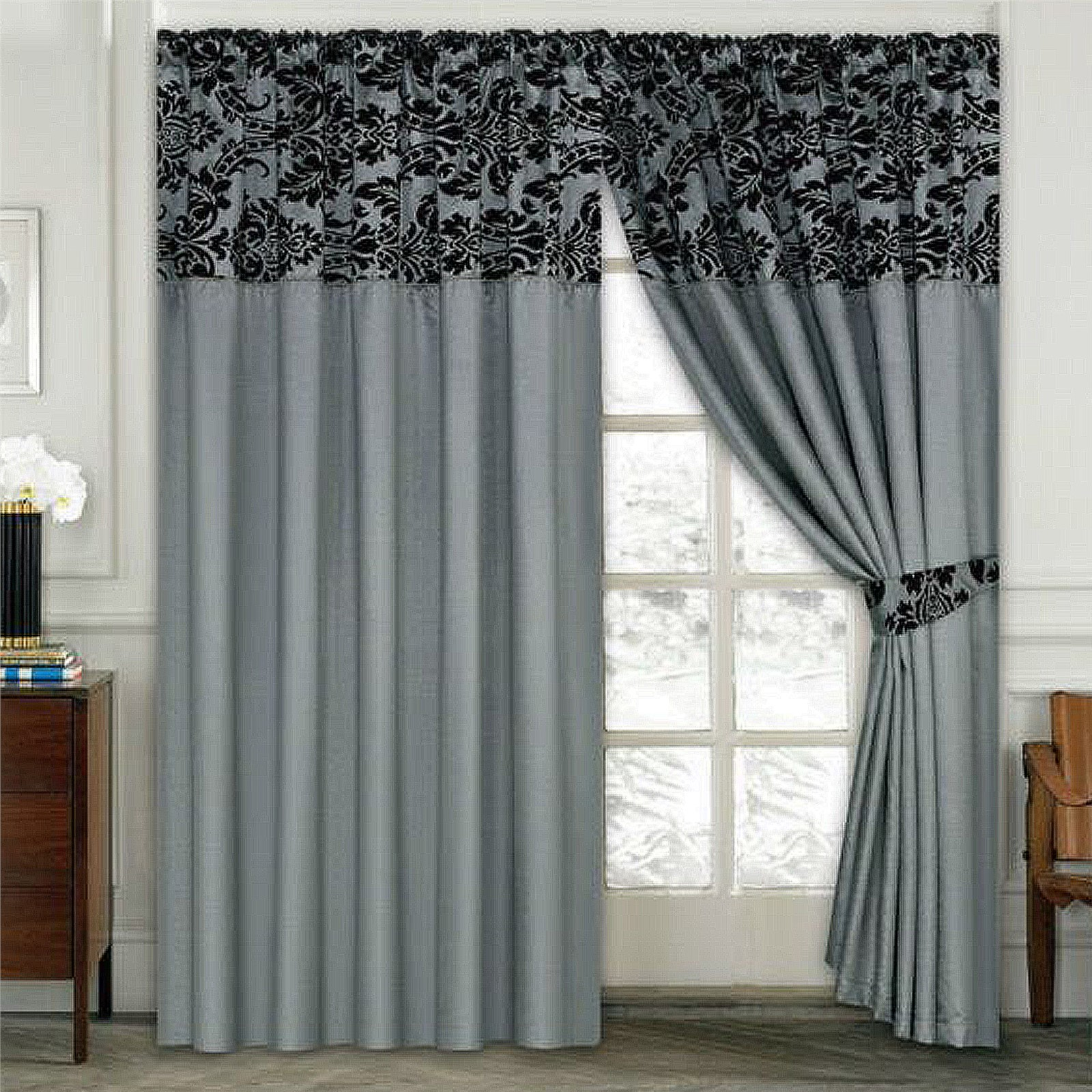 Luxury damask curtains pair of half flock pencil pleat for Bedrooms curtains photos