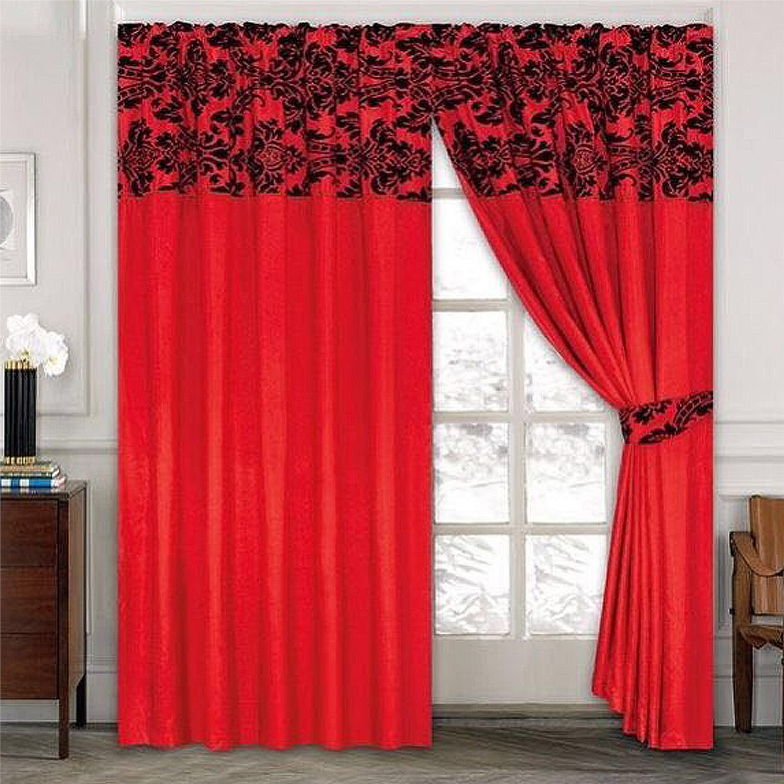 Thermal curtains - Luxury Damask Curtains Pair Of Half Flock Pencil Pleat Window Curtain
