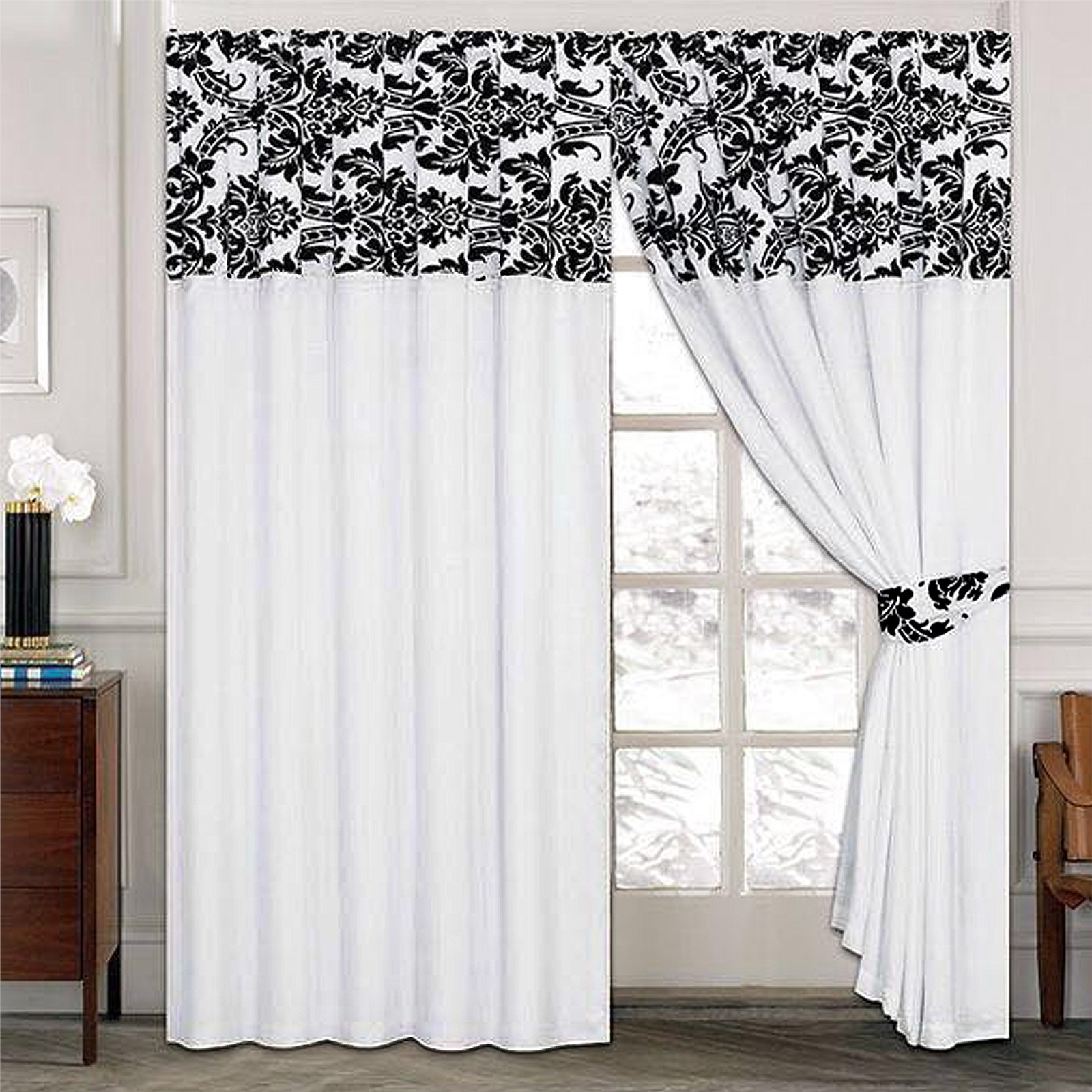 Luxury damask curtains pair of half flock pencil pleat window curtain ebay - Pictures of curtains ...